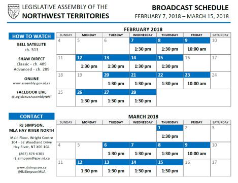 Legislative Assembly Broadcast Schedule - Feb - Mar 2018